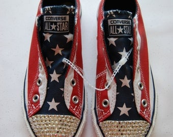 T1 Teen unisex American Flag low top Converse with white rhinestones
