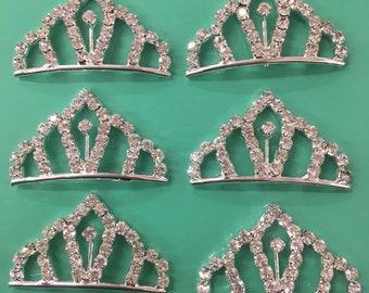 "set of 12 PC silver rhinestone princess tiny tiara / princesses theme party  / cupcake cake topper  / wholesale tiara  1"" x 1."