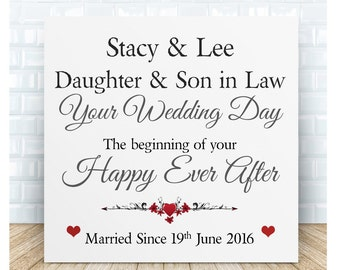Personalised Daughter & Son in Law Wedding Hanging Sign Plaque.