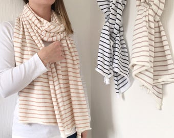 Striped cotton scarf, cotton blanket scarf, birthday gift for her, spring shawl, ladies neutral shawl