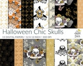 """Halloween Chic Skulls digital papers - Day of the Dead scrapbooking paper - instant download - small commercial use - royalty free - 12x12"""""""