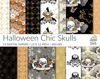 Halloween Chic Skulls digital papers - Day of the Dead scrapbooking paper - instant download - small commercial use - royalty free - 12x12""