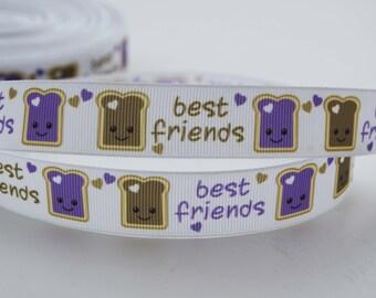 "Best Friends Peanut Butter and Jelly Grosgrain Ribbon 7/8"" Wide"