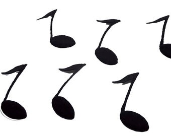 25 pcs Black Little Musical Notes Embroidered Applique Commercial Sewing Patch - Iron On BLM030517