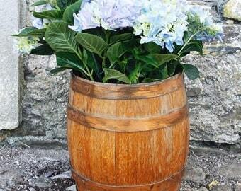 Antique Oak Barrel Planter