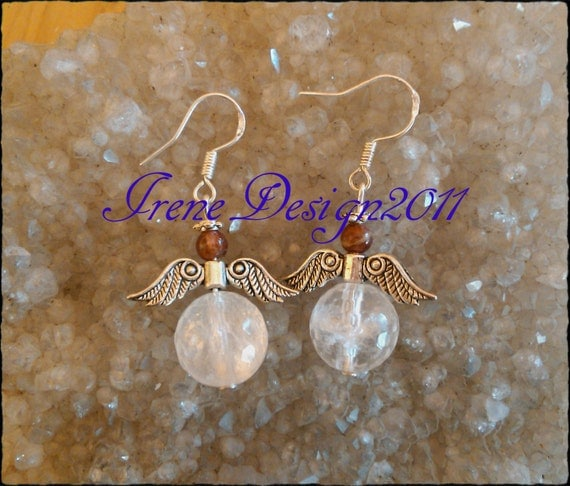 Guardian Angel Earrings with Tourmaline & Facetted Rock Crystal by IreneDesign2011