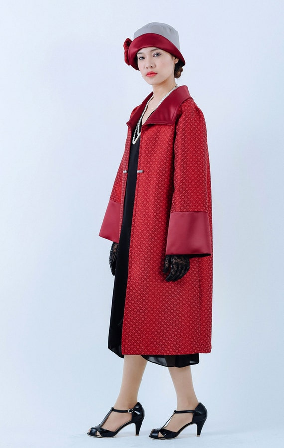 Vintage Coats & Jackets | Retro Coats and Jackets Handmade 1920s flapper coat in red Great Gatsby coat Downton Abbey coat Art deco jacket red Gatsby costume Miss Fisher coat 20s jacket $155.00 AT vintagedancer.com