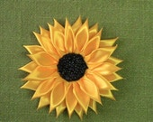 Handmade satin sunflower, satin ribbon sunflower, embellishment flowers