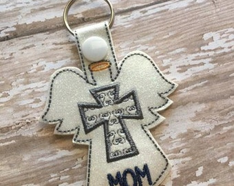 Angel Mom Cross - Key Fob Design - DIGITAL EMBROIDERY Design