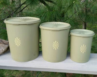 Tupperware Set of 3 Avocado Green with Scroll Pattern Detail