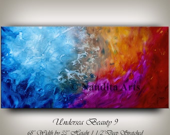 "Huge Painting 68"" Blue Artwork , Calming Oil painting , Warm and Cold Colors , Original Hand Made, Contemporary art work by artist Nandita"