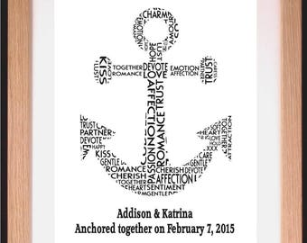 Personalised Anchor Wedding or Anniversary Word Cloud Art Gift