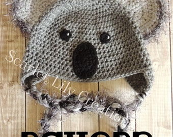 PATTERN:  Koala Crochet Hat