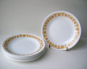 Corelle Livingware Sandwich Luncheon Plates in Butterfly Gold, Set of 8
