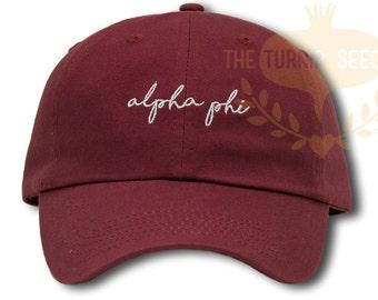 Alpha Phi Handwriting Script Sorority Baseball Cap - Custom Color Hat and Embroidery