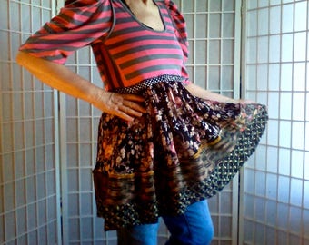 62 ~ Sm / Med, Retro, Shabby Chic, Women's, Clothing, Lolita, Hipster, UpCycled, Gypsy, Tattered, Eco, Classic, Couture,  Boho, Tunic