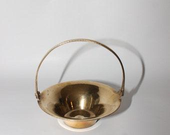 Vintage Brass Basket Figurine