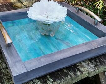 Serving Tray-Wood-Aqua Art Glass-Brushed Nickel Handles-Handmade-Grey Barnwood Finish-Ottoman Tray-Contemporary