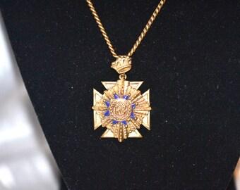 Vintage Police Officer's Guild Enameled Gold Plated Necklace
