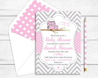 Printable Owl Baby Shower Invitation, Owl Printable Party Invitation, Grey Pink Chevron Polkadots Shower, Owl Baby Shower  Party Supplies