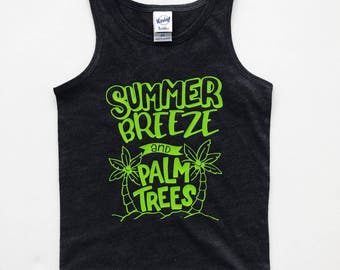 Summer Breeze and Palm Trees toddler tank top