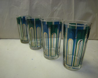 4 water glasses-1960's style-4 tumblers-kitchen and dining-water glass set-blue and gold trim-party glasses-retro