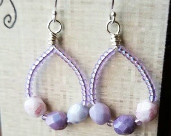 Lilac Earrings,  beaded hoop earrings,  purple earrings