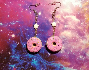 Pink Icing Donut Drop Earrings with Cute White Stars
