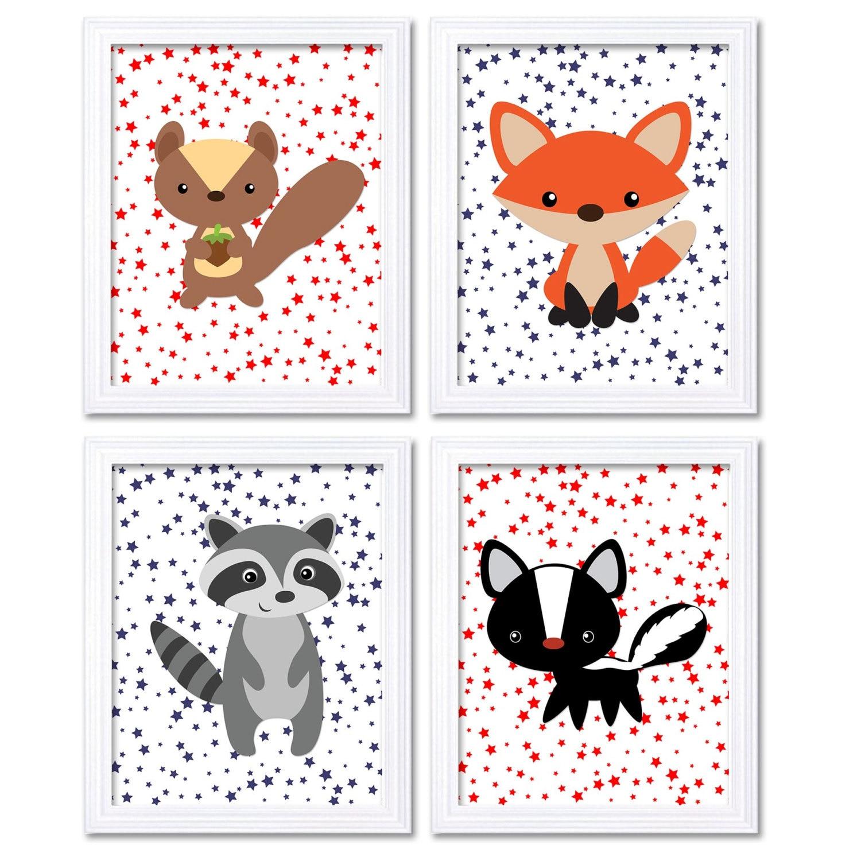 Red Navy Blue Woodland Nursery Art Set of 4 Prints Stars Squirrel Fox Racoon Skunk Baby Child Kid Ro
