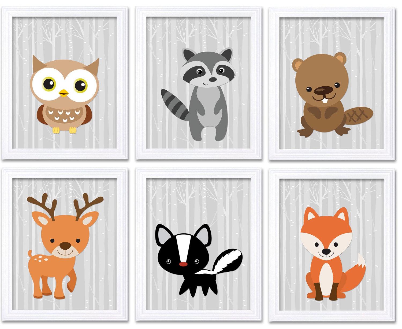 Pale Grey Woodland Animals Woodland Nursery Art Print Set of 6 Owl Racoon Beaver Deer Skunk Fox Tree