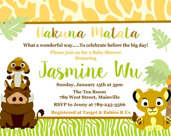 Lion King Baby Shower Invitation - Digital or Printed, Free Shipping!