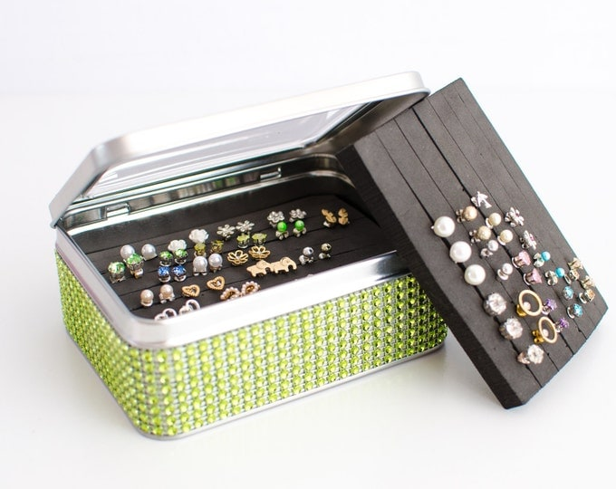 Tin Jewelry Box - Green Jeweled Ribbon - EXTRA INSERT  - Travel Tin Box