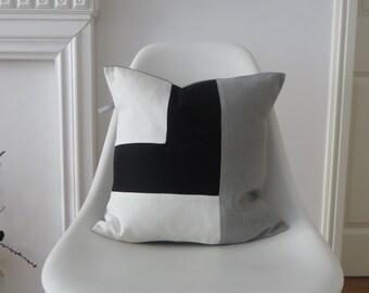 Linen Pillow/cushion modern color blocking