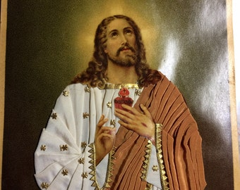 Vintage Sacred Heart Picture of Jesus // Robed Picture