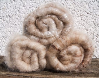 3x Natural. Angora. Merino. Silk. Handcarded Batt For Spinning And Felting. Seidenhase.
