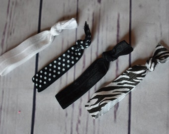 4 Piece Black and White Color Set Elastic Hair Ties