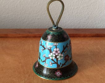 Asian Cloisonne Blue Bell with Floral Design