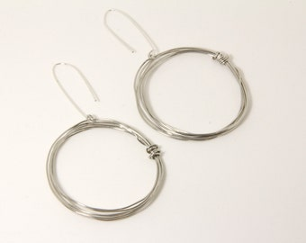 "Earrings, Round Silver Alloy Multi Wire Hoop Earrings, 2"""" Diameter, Sterling Silver Ear Wires, Artisan Designed and Crafted 