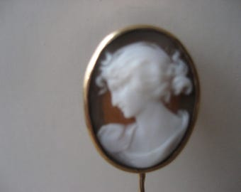 Vintage cameo gold stick pin from Switzerland