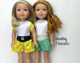 14 inch doll clothes white top w/yellow sleeves green skort and black yoke front skort made to fit like Wellie Wishers doll clothes