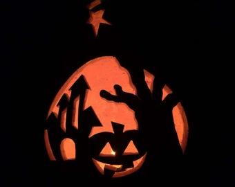 Halloween Gourd Lantern, handmade and homegrown dried gourd art.