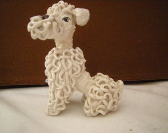 vtge french  poodle-made in italy-poodle frise-shelf decor-collection-ceramic-proud poodle-home decor-