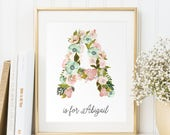 Baby Name Wall art, Personalized Baby Gift, Vintage floral letters, Customized initials print, Nursery Wall Print, Digital Art baby, PDF