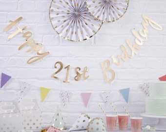 21st Birthday Banner, Gold Happy Birthday Banner, Bunting, 21st Birthday Party Decoration, Modern Print Banner