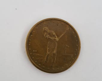 Vintage copper Golfing token, marked HH, driving range token. 1930's golfer