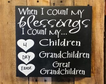 When I Count My Blessings - Count Your Blessings Sign - Grandchildren Sign - Grandkids Sign - Grandparents Sign - Pregnancy Baby Announce
