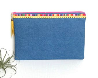 Boho Denim Clutch, zippered clutch with leather tassel, colorful trim