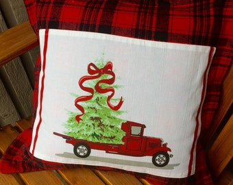 Christmas Plaid pillow cover. Vintage Red truck with Christmas tree.