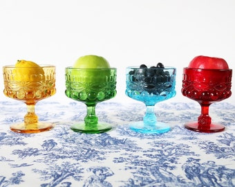Footed Glass Dessert Dishes, Set Of 4, Ice Cream Cups, Footed Bowls, Cups For Ice Cream, Sherbet Cups, Pressed Colored Glass, Dessert Bowls