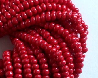 Opaque Dark Red 6/0 Czech Seed Beads, Preciosa Rocaille, 4mm Dark Red Beads